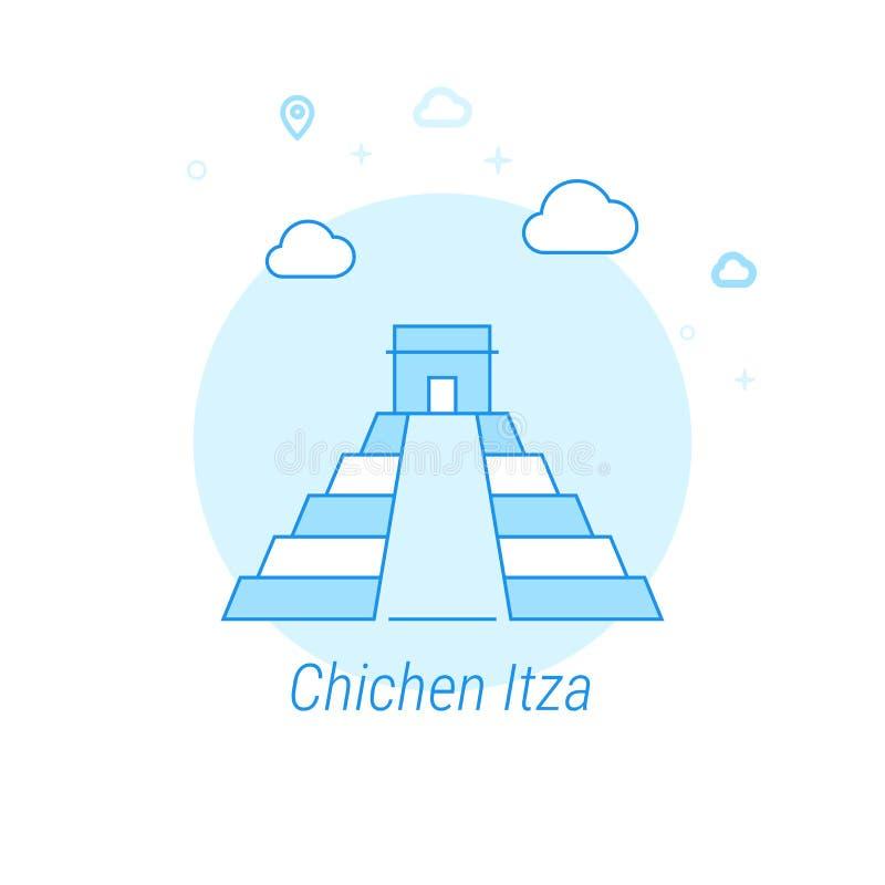 Chichen Itza, Mexico plan vektorillustration, symbol Ljust - blå monokrom design Redigerbar slaglängd vektor illustrationer