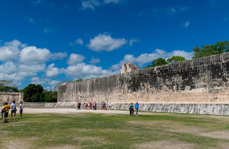 Temple of the Jaguars and the Great Ball Court in Chichen Itza Display Mayan Hieroglyphics in Mexico stock photos