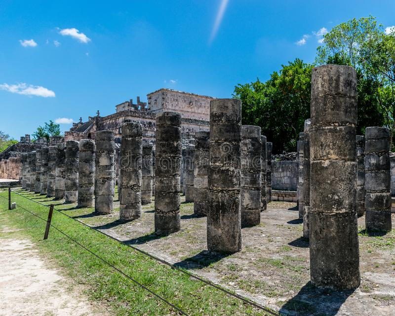 Temple of the Warriors and Thousand Columns at Chichen Itza, Mexico royalty free stock photo