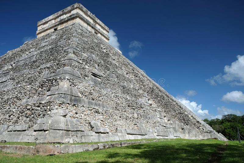 Chichen Itza, Mexico. View of El Castillo Pyramid from the corner. royalty free stock images