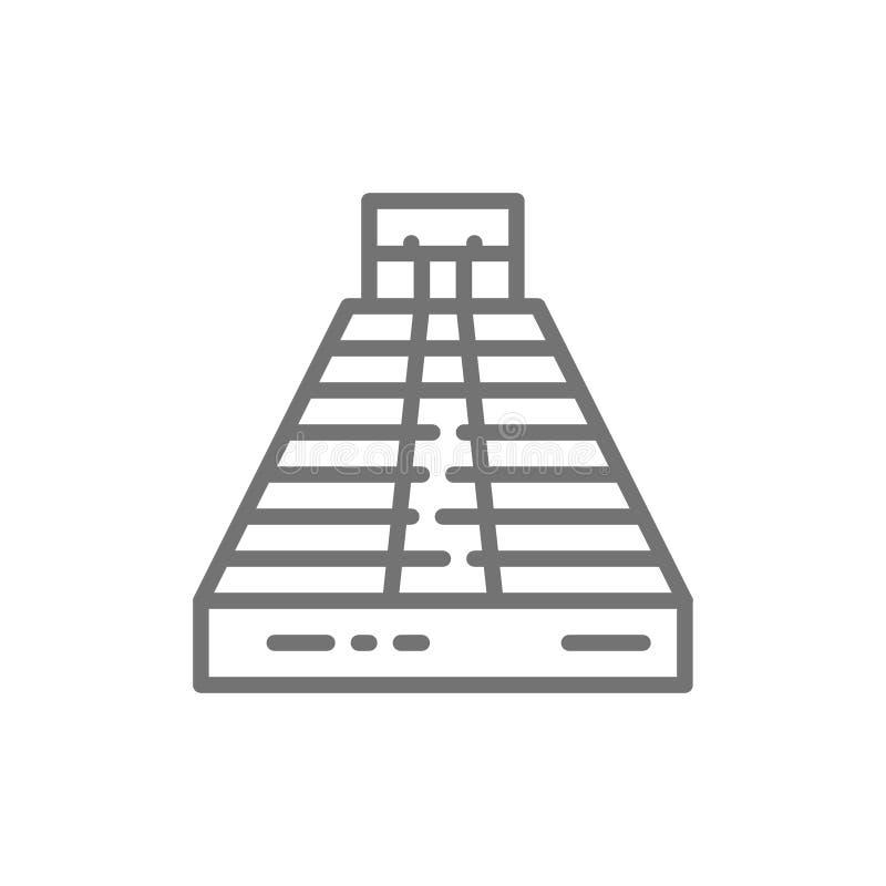 Chichen Itza, pirámide de Kukulkan, Palenque, Tulum, línea icono de Teotihuacan ilustración del vector