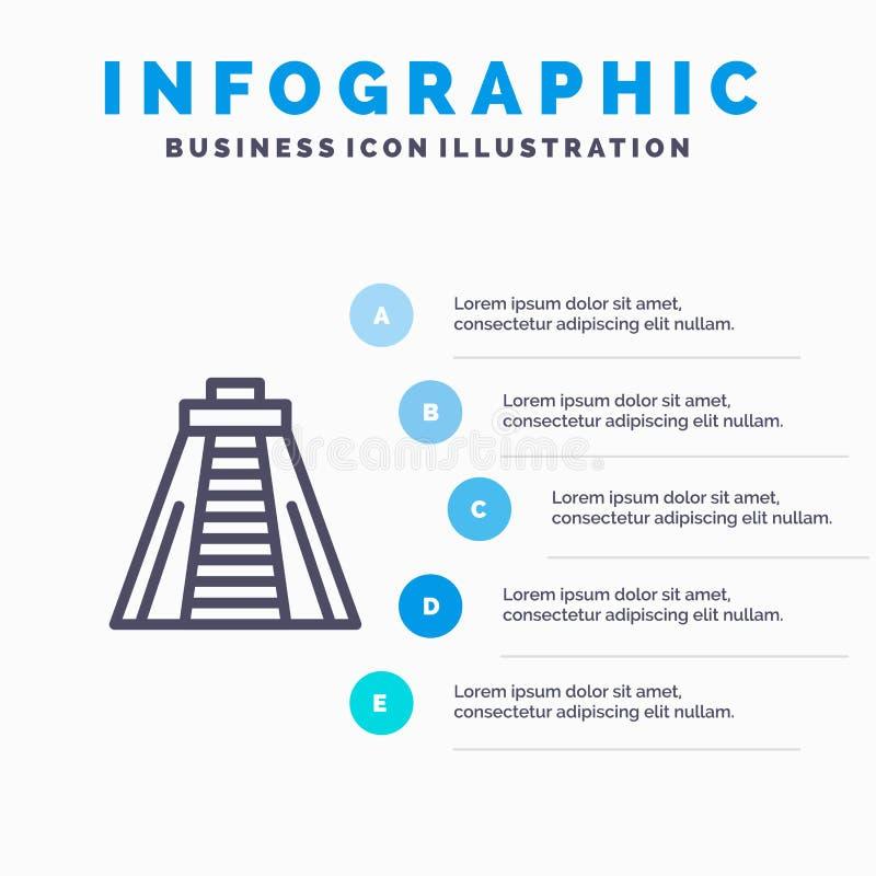 Chichen Itza, point de repère, étapes bleues du calibre 5 d'Infographics de monument Ligne calibre de vecteur d'ic?ne illustration de vecteur