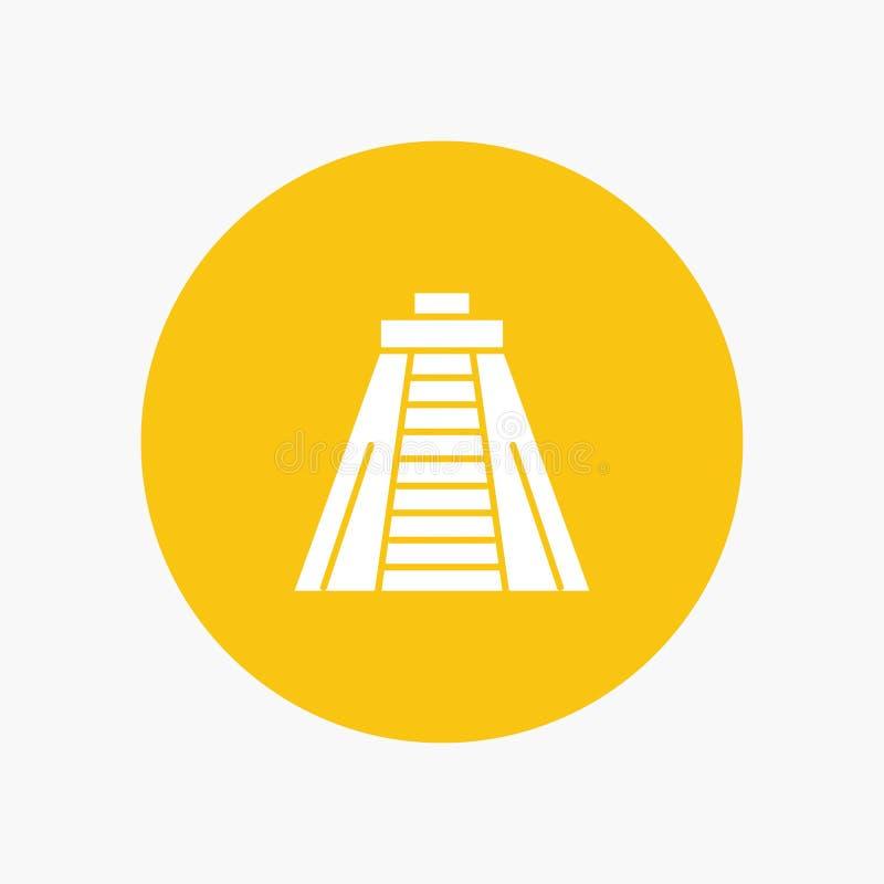 Chichen Itza, point de repère, icône blanche de glyph de monument illustration stock