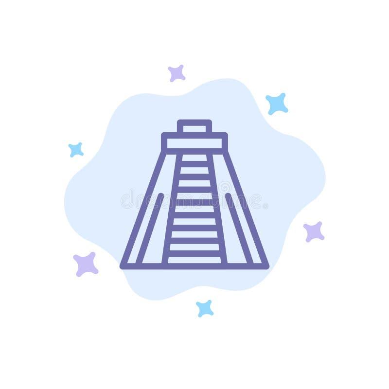 Chichen Itza, point de repère, icône bleue de monument sur le fond abstrait de nuage illustration de vecteur