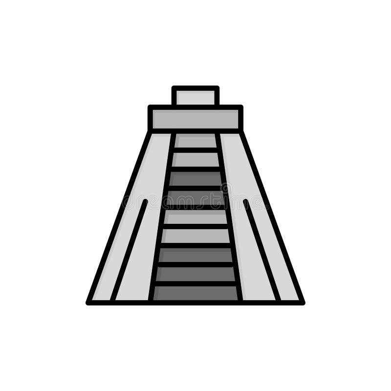 Chichen Itza, point de repère, icône plate de couleur de monument Calibre de bannière d'icône de vecteur illustration libre de droits