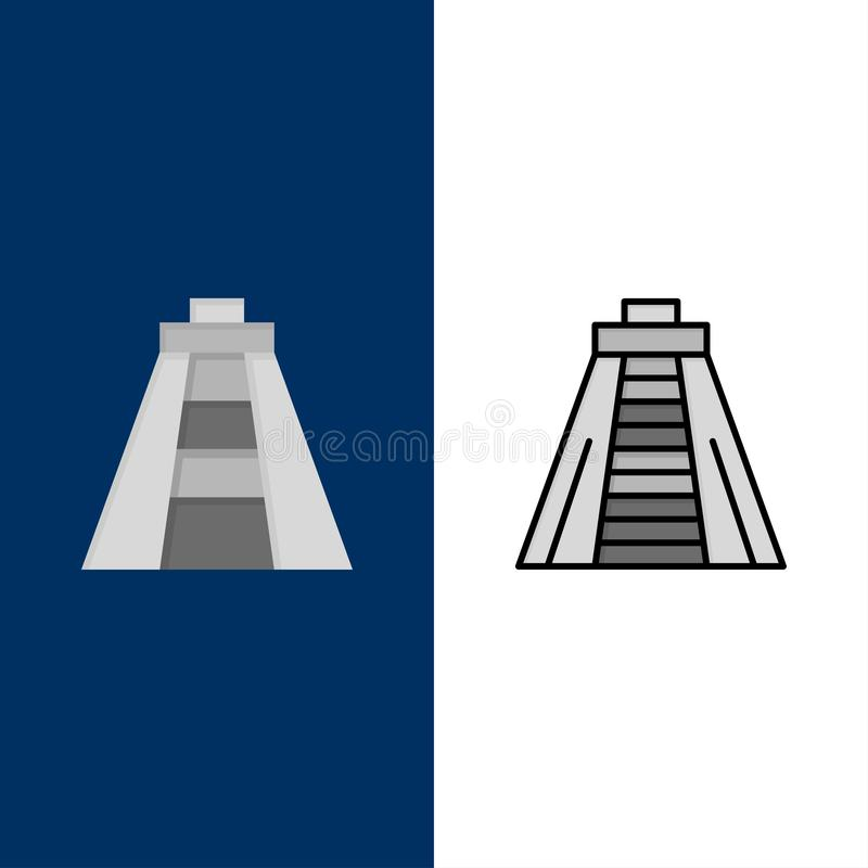 Chichen Itza, point de repère, icônes de monument L'appartement et la ligne icône remplie ont placé le fond bleu de vecteur illustration de vecteur