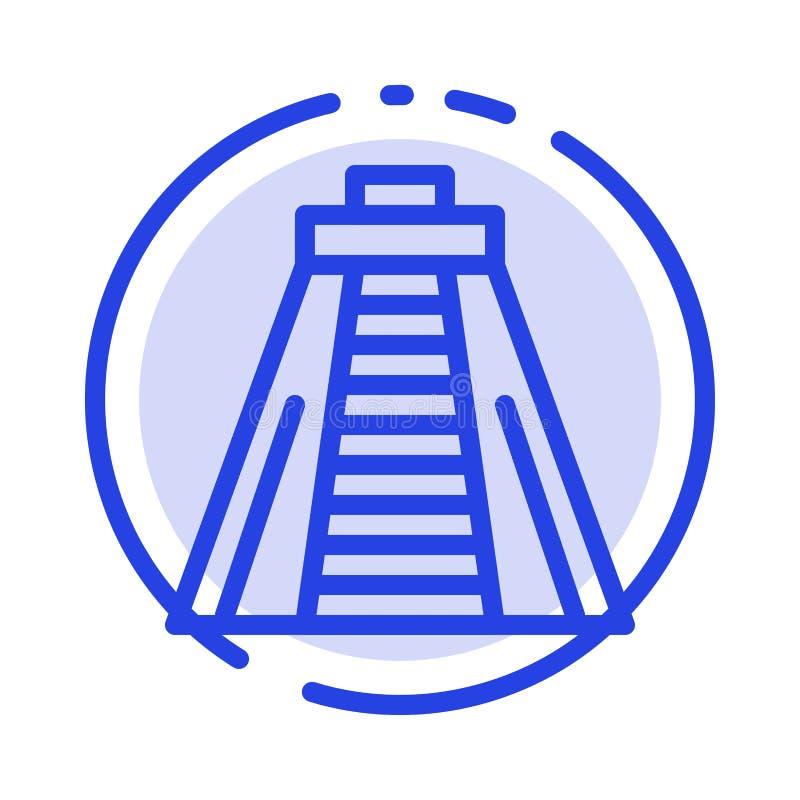 Chichen Itza, point de repère, ligne pointillée bleue ligne icône de monument illustration stock