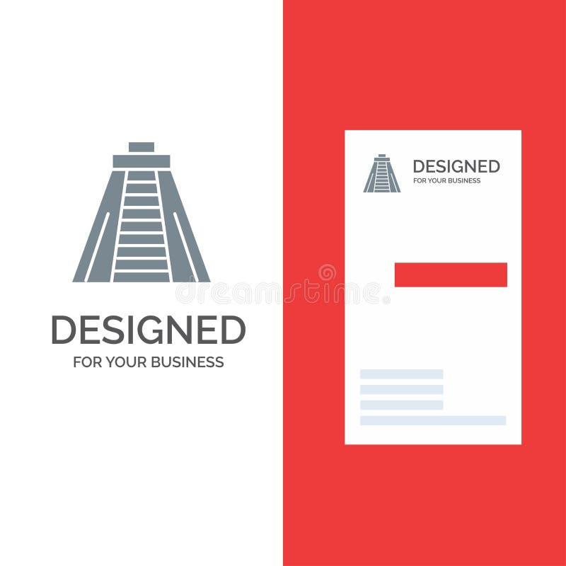 Chichen Itza, point de repère, monument Grey Logo Design et calibre de carte de visite professionnelle de visite illustration libre de droits