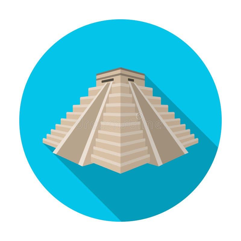 Chichen Itza symbol i plan stil som isoleras på vit bakgrund Illustration för vektor för landssymbolmateriel royaltyfri illustrationer