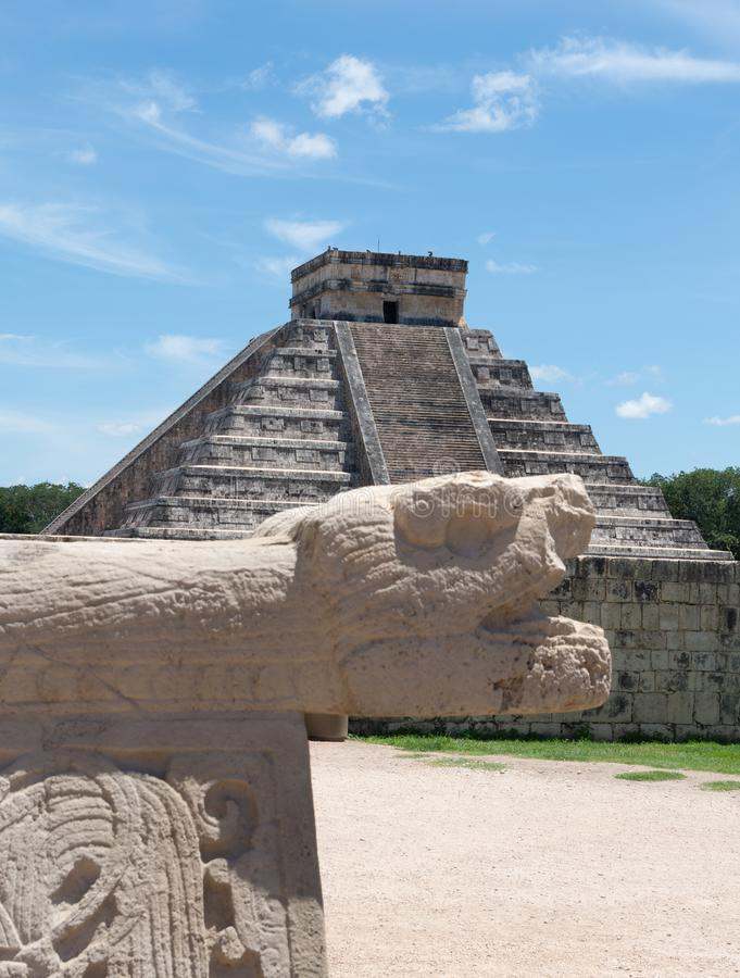 Chichen Itza Temple without people, view from the snake - image. Chichen Itza Temple without people, view from the snake royalty free stock photography