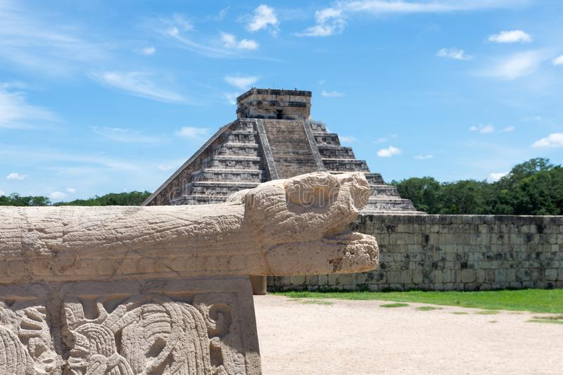 Chichen Itza temple with snake, seven wonders of the world - image. Chichen Itza temple with snake, seven wonders of the world stock photo