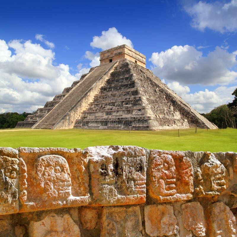 Chichen Itza Tzompantli the Wall of Skulls royalty free stock image