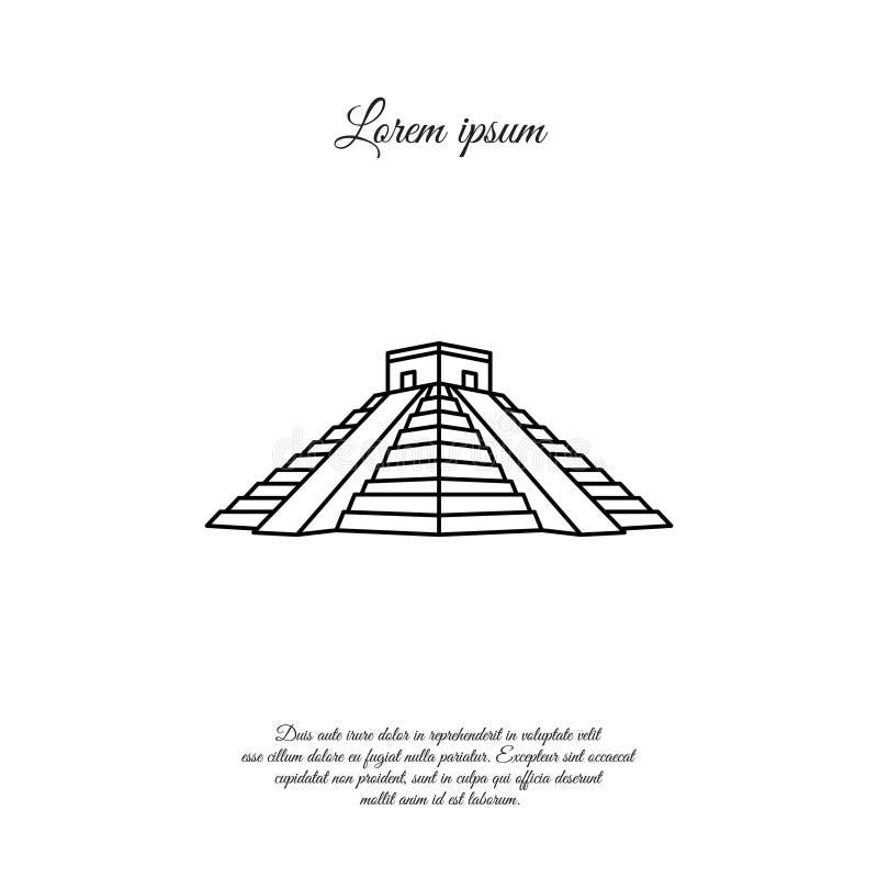 Chichen Itza vektorlinje, linjär symbol, tecken royaltyfri illustrationer