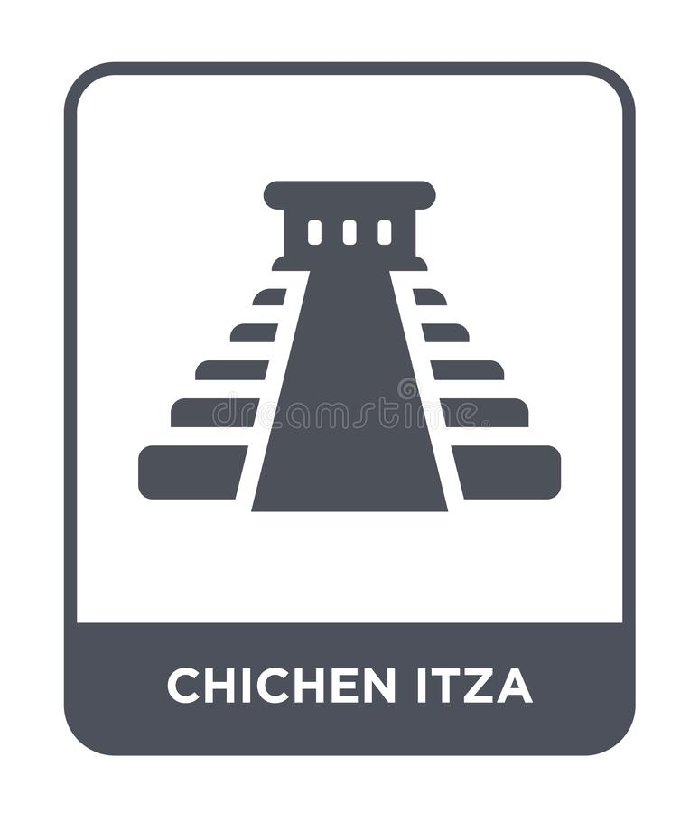 chichen itzapictogram in in ontwerpstijl chichen itzapictogram op witte achtergrond wordt geïsoleerd die chichen eenvoudig itza v stock illustratie