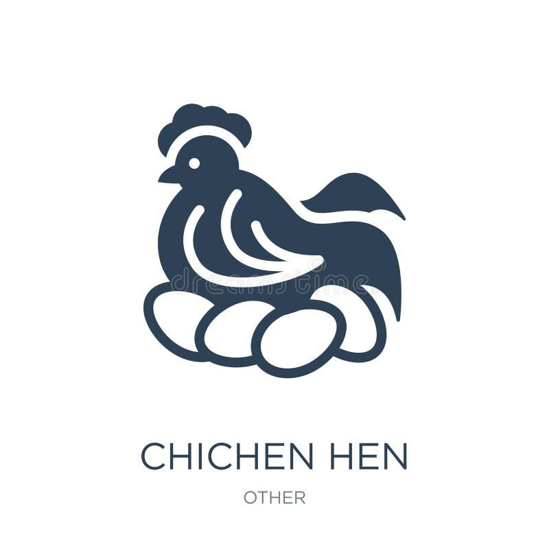 chichen l'icône de poule dans le style à la mode de conception chichen l'icône de poule d'isolement sur le fond blanc chichen l'i illustration de vecteur