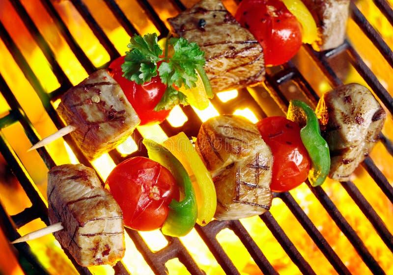 Chiches-kebabs de viande grésillant au-dessus des charbons photos stock