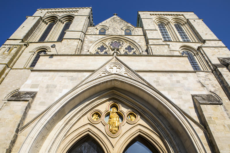 Chichester Cathedral in Chichester. Looking up at the western exterior of Chichester Cathedral in West Sussex, UK royalty free stock photos