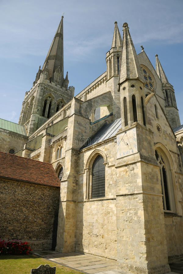 Chichester Cathedral Sussex. The historic spires and architectural glory of Chichester cathedral royalty free stock images