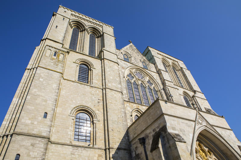 Chichester Cathedral in Sussex. Looking up at the western exterior of Chichester Cathedral in West Sussex, UK stock images