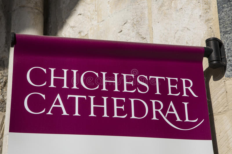 Chichester Cathedral in Sussex. A sign at the main entrance to the historic Chichester Cathedral in West Sussex, UK stock photo