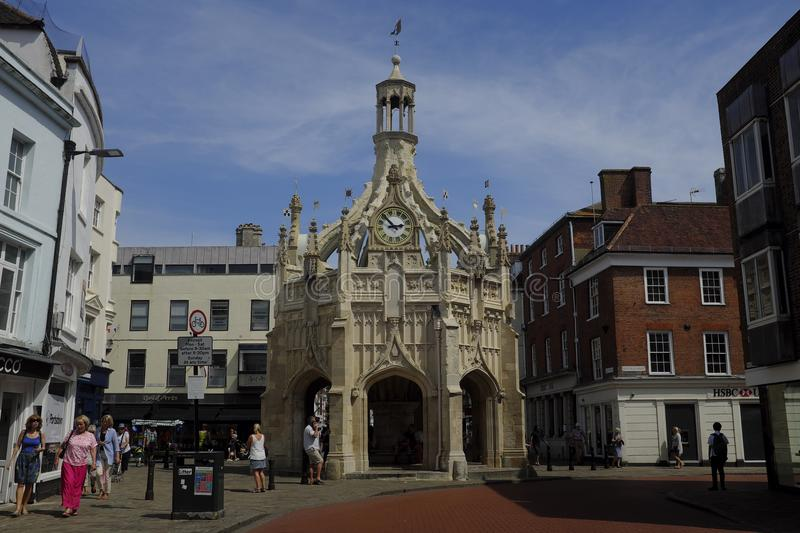 The crossroad where the Chichester Market Cross stands in the centre of the city. Chichester Cross is an elaborate Perpendicular market cross in the centre of stock photos