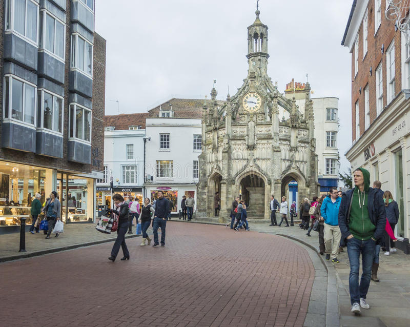 Chichester Cross. The Medieval Chichester Cross in the centre of the City of Chichester, West Sussex. Built in the fifteenth century as a shelter for traders royalty free stock image