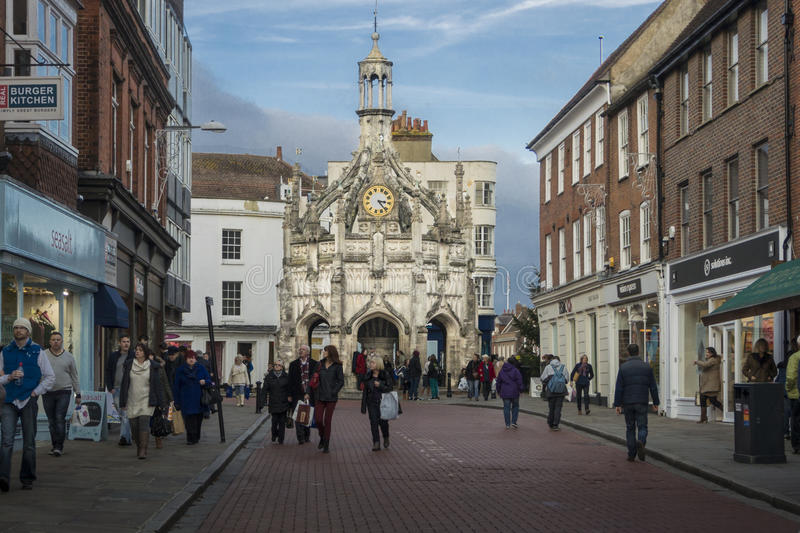 Chichester Cross. The Medieval Chichester Cross in the centre of the City of Chichester, West Sussex. Built in the fifteenth century as a shelter for traders royalty free stock images