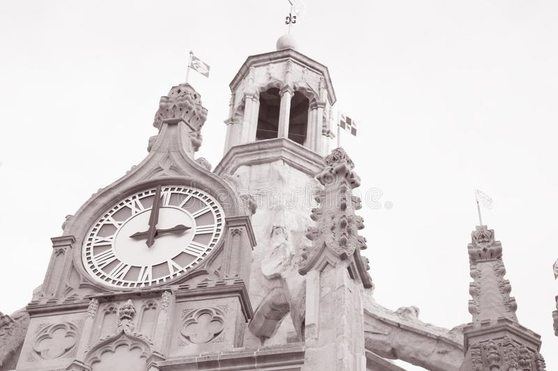 Chichester Cross, UK. In Black and White Sepia Tone royalty free stock image