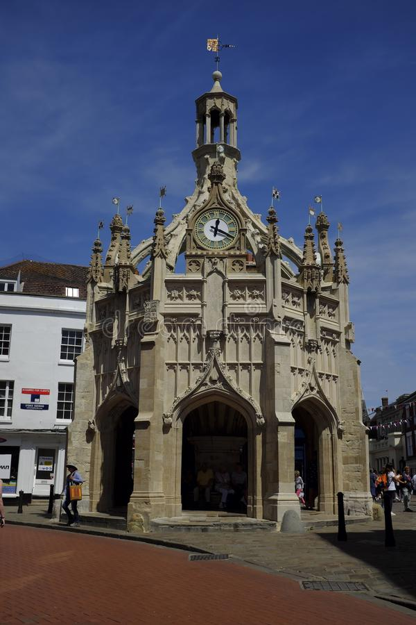 Chichester Market Cross in the centre of the city. Chichester Cross is an elaborate Perpendicular market cross in the centre of the city of Chichester, West royalty free stock photos