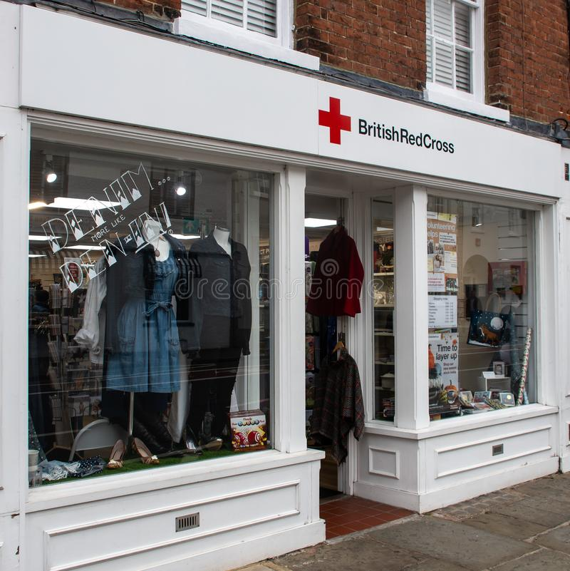 Red Cross shop. Chichester, United Kingdom - October 06 2018: The frontage of the British Red Cross Charity shop in North Street stock image