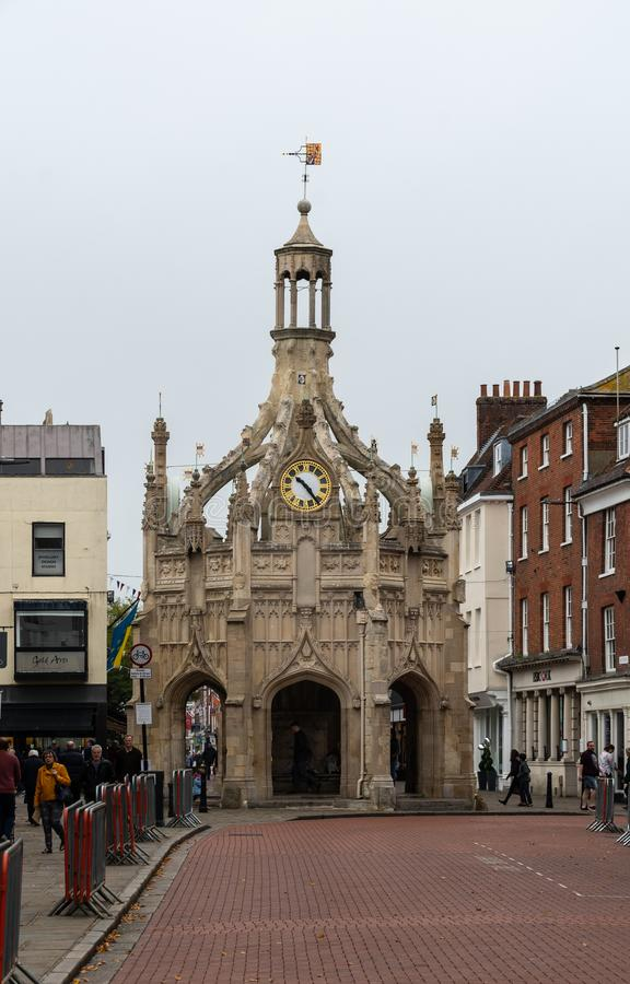 Chichester Cross Building. Chichester, United Kingdom - October 06 2018: The 15th Century Market Cross in the Centre of Chichester at the junction between West stock image