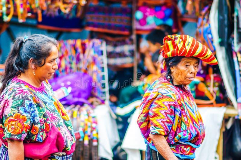 Chichicastenango, Guatemala on 2th May 2016: Old woman wearing colorful clothes on maya market in Chichicatenango royalty free stock photography