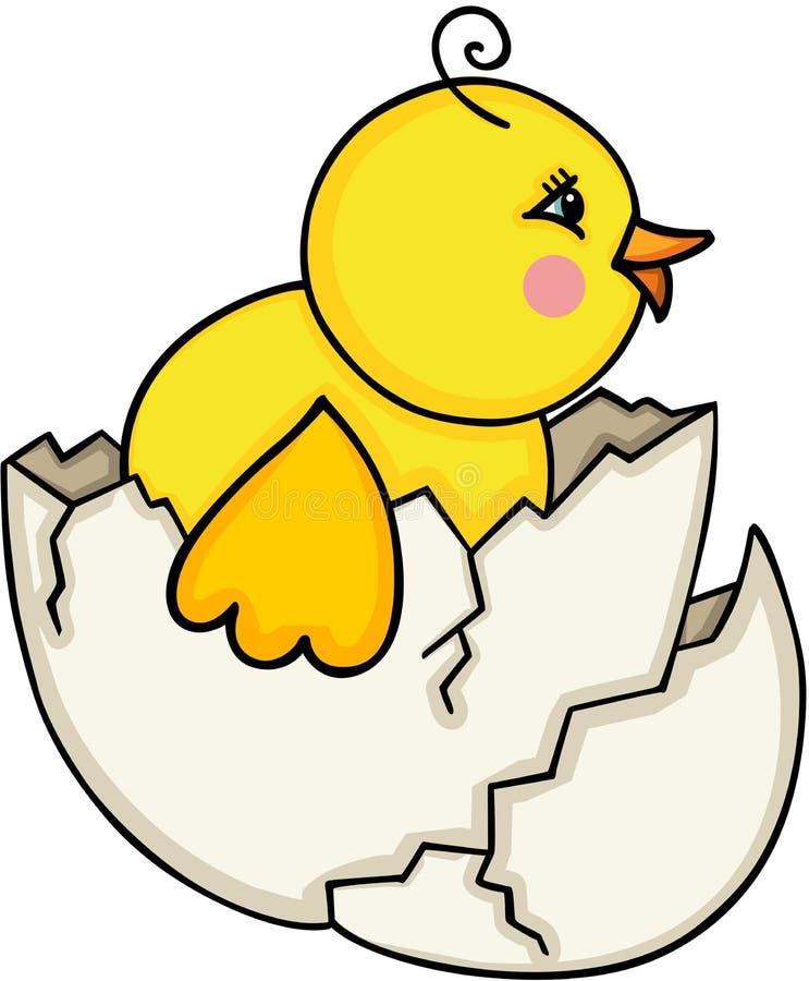 Chick Leaving Cracked Egg stock illustrationer