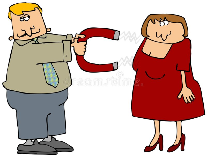 Chick Magnet. This illustration depicts a dapper man pointing a large magnet at an apprehensive woman vector illustration