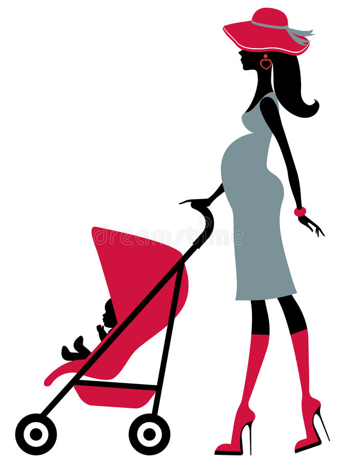 Chick Mom-to-be With A Child In Baby Stroller Royalty Free Stock Images