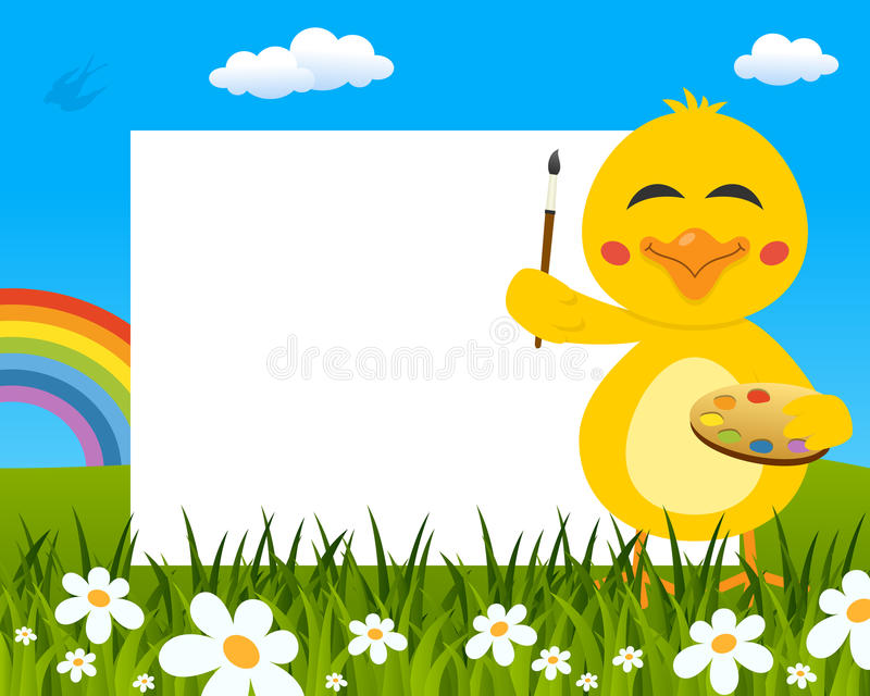 Chick with Palette Easter Horizontal Frame stock photo