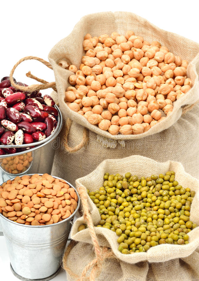 Free Chick-pea, Mung Beans, Kidney-beans In The Sacks Isolated On Whi Stock Image - 41828381