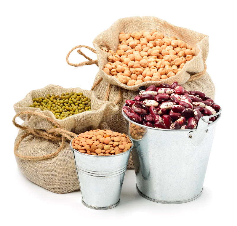 Free Chick-pea, Mung Beans, Kidney-beans In The Sacks Isolated On White Stock Images - 41828364