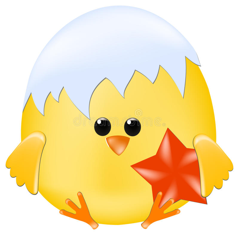 Download Chick with red star stock vector. Illustration of chick - 12555400