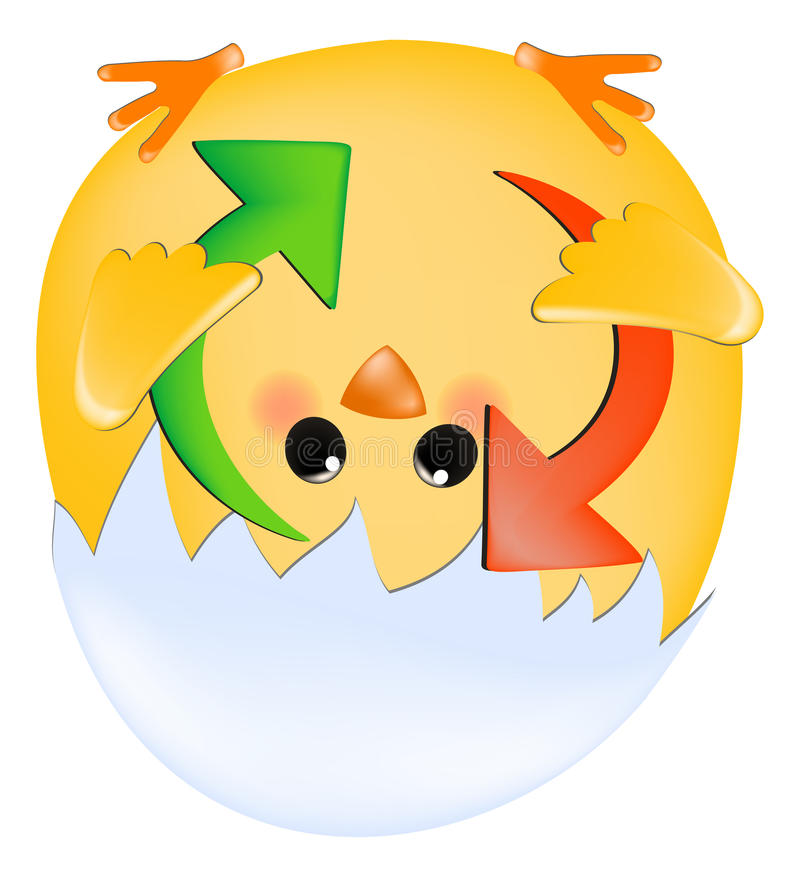 Download Chick with refresh arrows stock vector. Image of button - 12736786