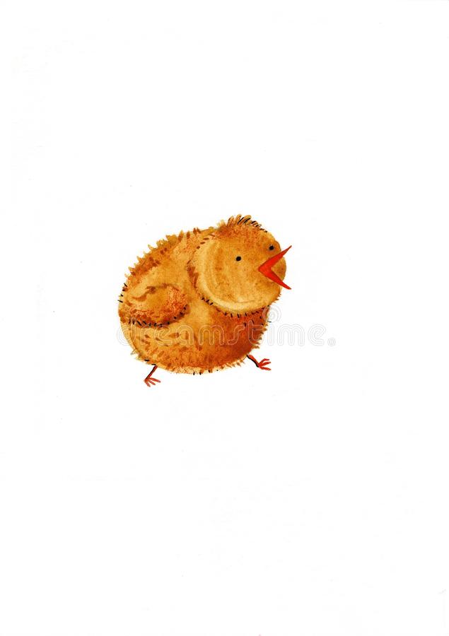 Chick. Watercolor illustration on a white background stock illustration