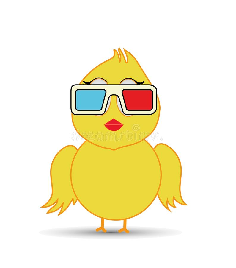 Chick wearing 3d glasses. Cinema concpet vector illustration