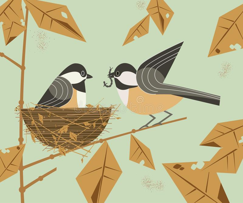 Chickadee bird couple. Cute comic cartoon. Birds on tree branch. Male bird feeding female sitting on eggs in straw nest. Minimalism simplicity design. Template vector illustration
