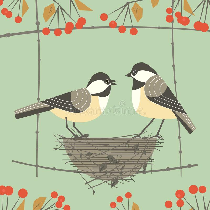 Chickadee bird couple. Cute comic cartoon. Birds sitting in straw nest. Minimalism simplicity wildlife design. Male, female bird on tree branch. Template royalty free illustration