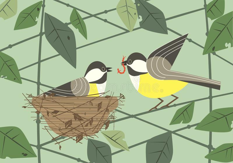 Chickadee birds in nest flat poster. Cute chickadee birds couple in nest. Hand drawn flat minimal design. Male bird is feeding by worm female sitting on eggs in vector illustration