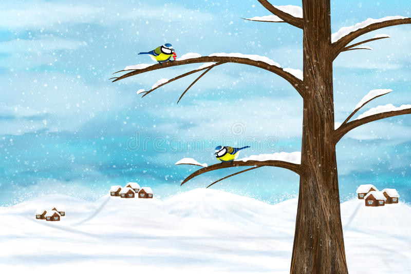 Chickadee birds in winter. Black capped Chickadee birds on a tree. Winter illustration stock illustration