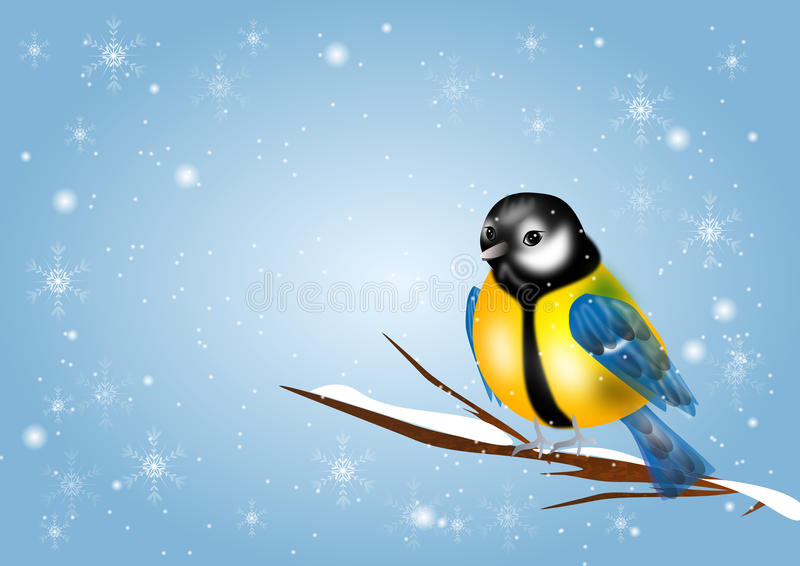 Chickadee on winter background. Illustration of chickadee in snowy background with snowflakes vector illustration