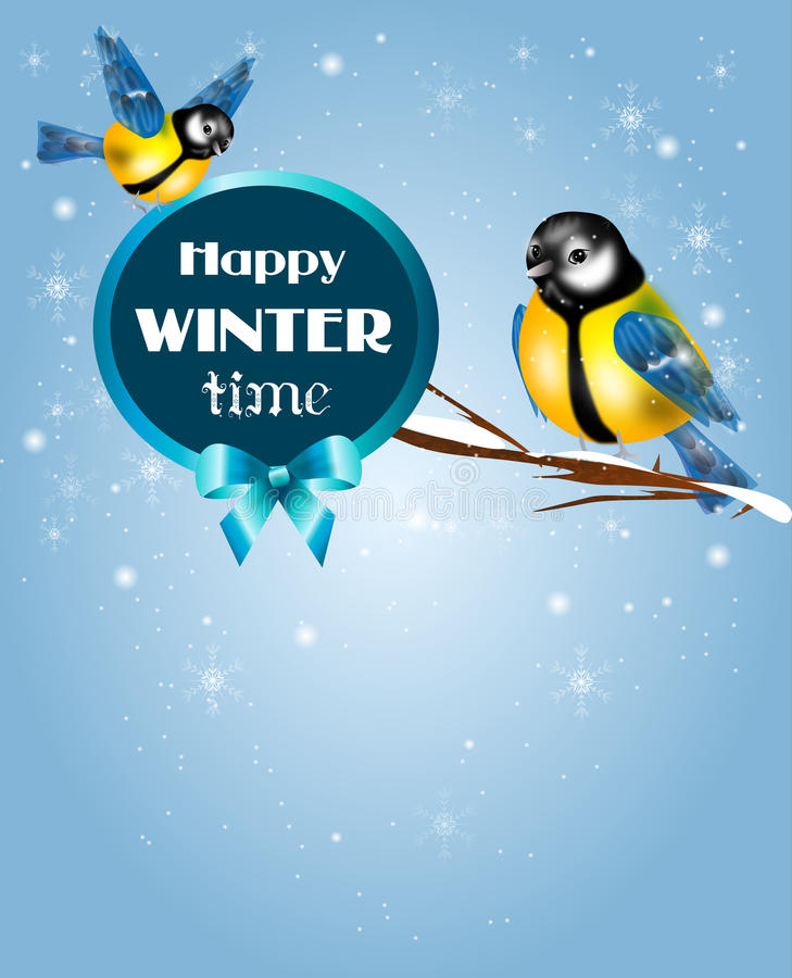 Chickadee winter time. Illustration of chickadee in snowy background with text stock illustration