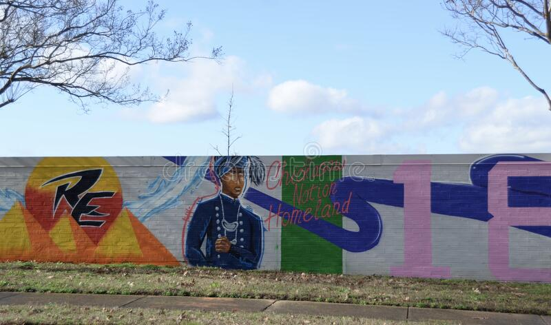 Chickasaw Nation Homeland Mural Raleigh Memphis, TN royaltyfri bild