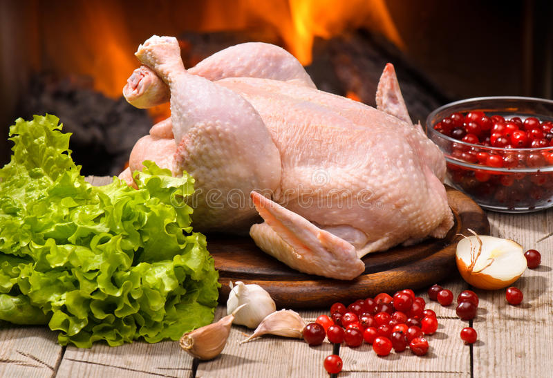 Chicken. On a background of fire royalty free stock photography